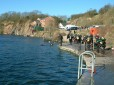Divers enter the water at Stoney Cove
