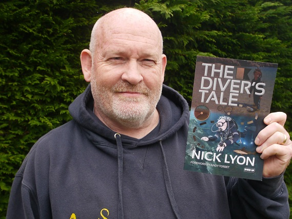 Nick Lyon - author with his book The Diver's Tale