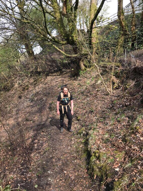 George Linnane exiting Daren Cilau cave