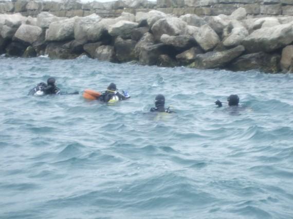 Divers on the Bombardon Unit, Portland Harbour